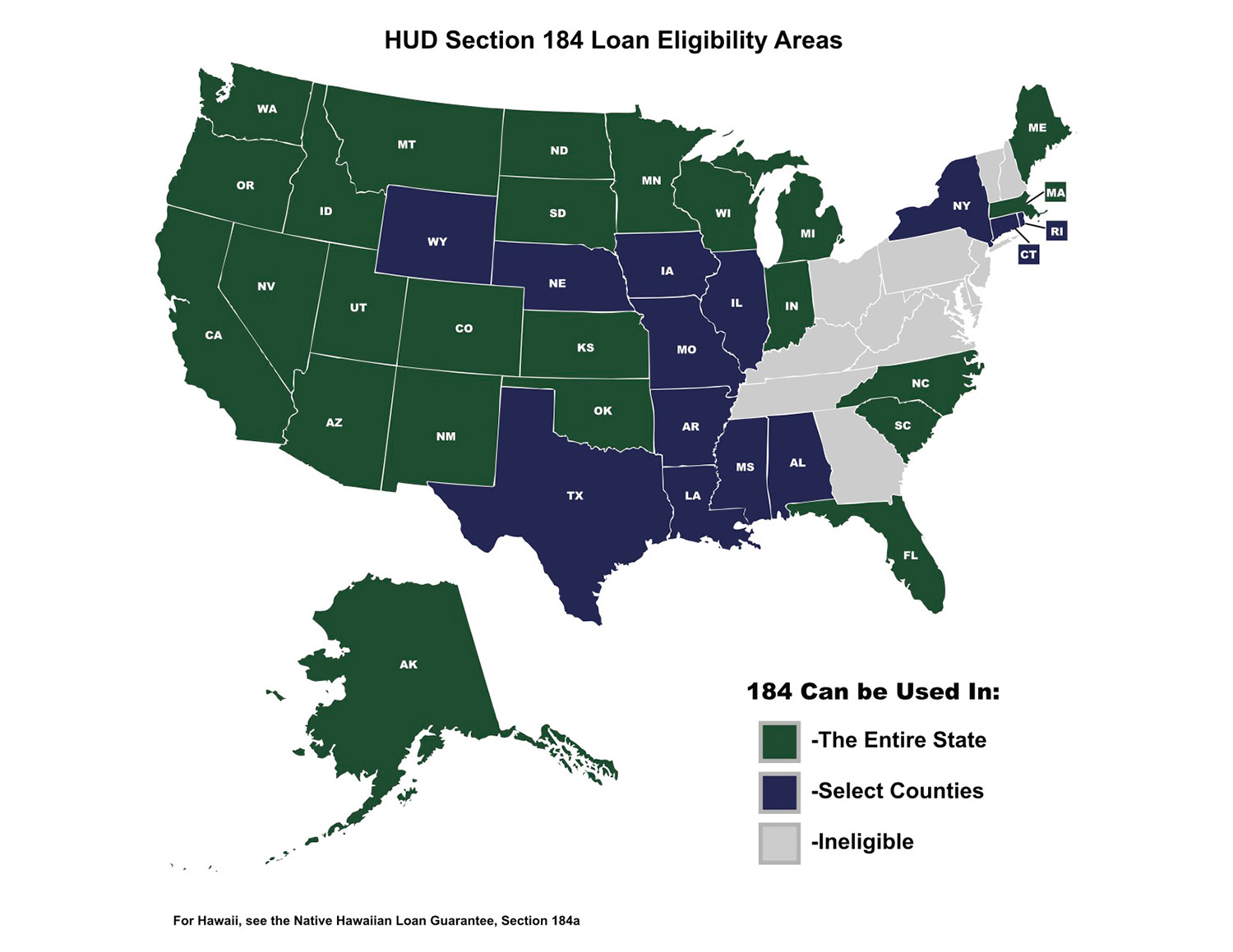 HUD Section 184 Loans for Native Americans eligibility areas